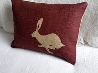Helkat Burgundy Small Hare Cushion